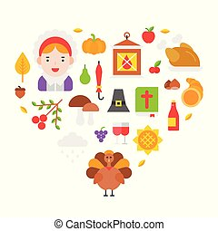 Thanksgiving icon arrange as heart shape for use as cover,background,wallpaper,backdrop