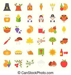 Thanksgiving icon big set, flat design
