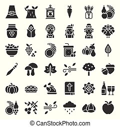 Thanksgiving icon big set, glyph or solid design