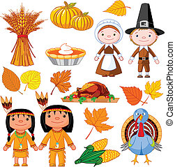 Thanksgiving icon set - Illustrated set of thanksgiving...