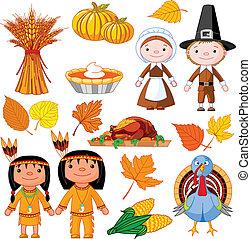 Thanksgiving icon set - Illustrated set of thanksgiving...