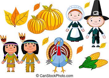 Thanksgiving icon set - Vector illustration set of ...