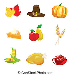 Thanksgiving icons - A vector illustration of Thanksgiving...
