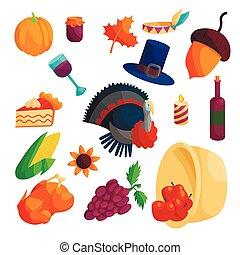 Thanksgiving icons set, cartoon style