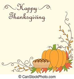 thanksgiving, illustration, à, citrouille, et, tarte