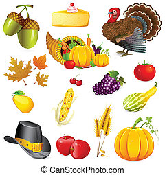 Thanksgiving - illustration of set of thanksgiving elements ...