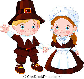 thanksgiving, jour, couple, pèlerin
