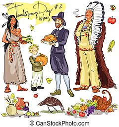 thanksgiving, jour, main, dessiné, collection., ensemble, 2.