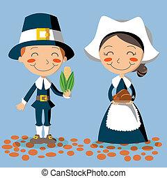 thanksgiving, jour, pèlerin, couple