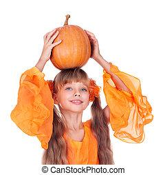 thanksgiving., klänning, pumpa, flicka, länge, apelsin