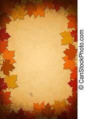 thanksgiving leaves on an old paper