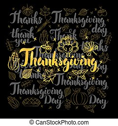 Thanksgiving Lettering Black Set
