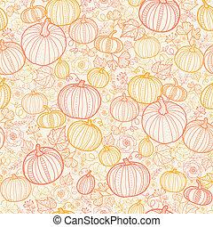 Thanksgiving line art pumkins seamless pattern background -...