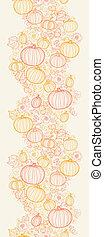 Thanksgiving line art pumpkins horizontal seamless pattern...