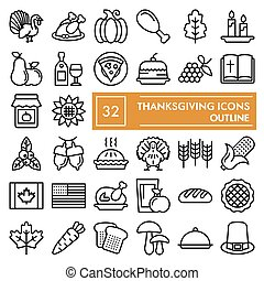 Thanksgiving line icon set, celebration symbols collection, vector sketches, logo illustrations, food signs linear pictograms package isolated on white background, eps 10.