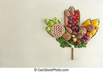 Thanksgiving meal autumn leaf concept