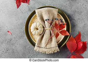 thanksgiving, monture, feuilles, table, automne