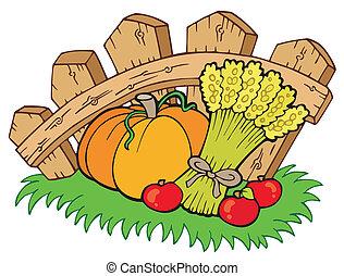 Thanksgiving motive with harvest - vector illustration.