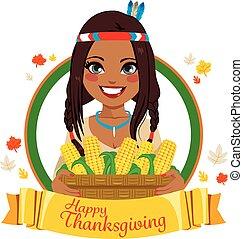 Thanksgiving Native American Woman