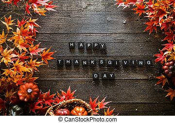 thanksgiving obiad, setting., autumn odchodzi, na, drewno