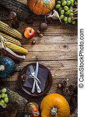 thanksgiving obiad, setting., jesień, obiadowy stół