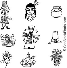 Thanksgiving object in doodle set
