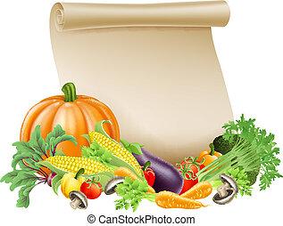 Thanksgiving or fresh produce scrol - Illustration of...