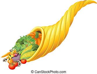 Illustration of thanksgiving or harvest festival cornucopia horn full of produce