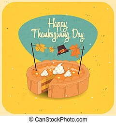 Thanksgiving Day Pumpkin Pie Isolated Vintage Cake Food