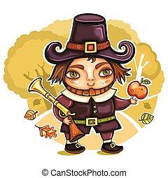 Thanksgiving pilgrim 2 - Thanksgiving happy cartoon pilgrim...