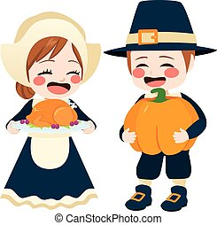 Thanksgiving Pilgrim - Cute kids on pilgrim costune having...