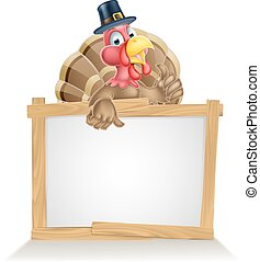 Thanksgiving Pilgrim Hat Turkey Sign