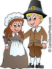 Thanksgiving pilgrim theme 1 - vector illustration.