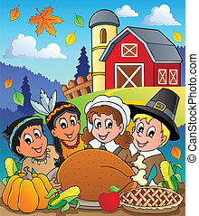 Thanksgiving pilgrim theme 4 - vector illustration.