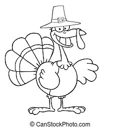 Thanksgiving Pilgrim Turkey Bird - Outlined Turkey Cartoon...