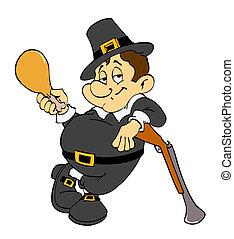 Thanksgiving Pilgrim With Turkey - Hand drawn cartoon of a...