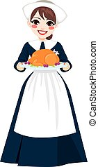 Thanksgiving Pilgrim Woman With Turkey - Beautiful young...