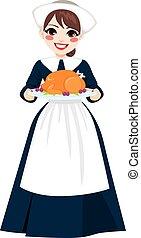 Thanksgiving Pilgrim Woman With Turkey