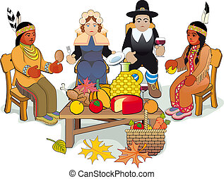 Thanksgiving Pilgrims and Indian Couple - Illustration...