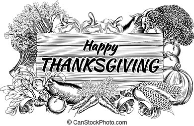 Thanksgiving Produce Vegetable and Fruits Sign