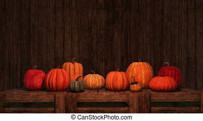Thanksgiving pumpkins copy space wooden background - Autumn...