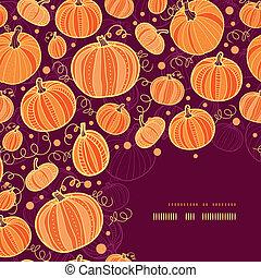 Thanksgiving pumpkins corner decor pattern background -...
