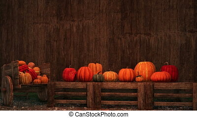 Thanksgiving pumpkins on rustic wooden background -...