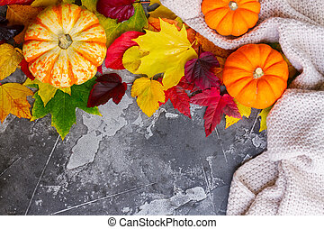 Thanksgiving pumpkins with fall leaves