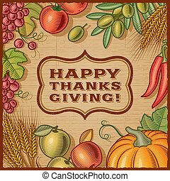 Thanksgiving Retro Card - Thanksgiving retro card in woodcut...