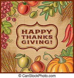 Thanksgiving retro card in woodcut style. EPS10 vector illustration with clipping mask.