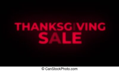 Thanksgiving Sale Text Flickering Display Promotional Loop....