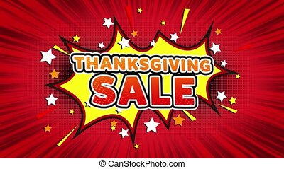 Thanksgiving Sale Text Pop Art Style Comic Expression. -...