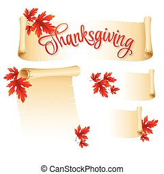 Thanksgiving scroll with  autumn leaves. Vector illustration