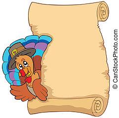 Thanksgiving scroll with turkey 1 - vector illustration.